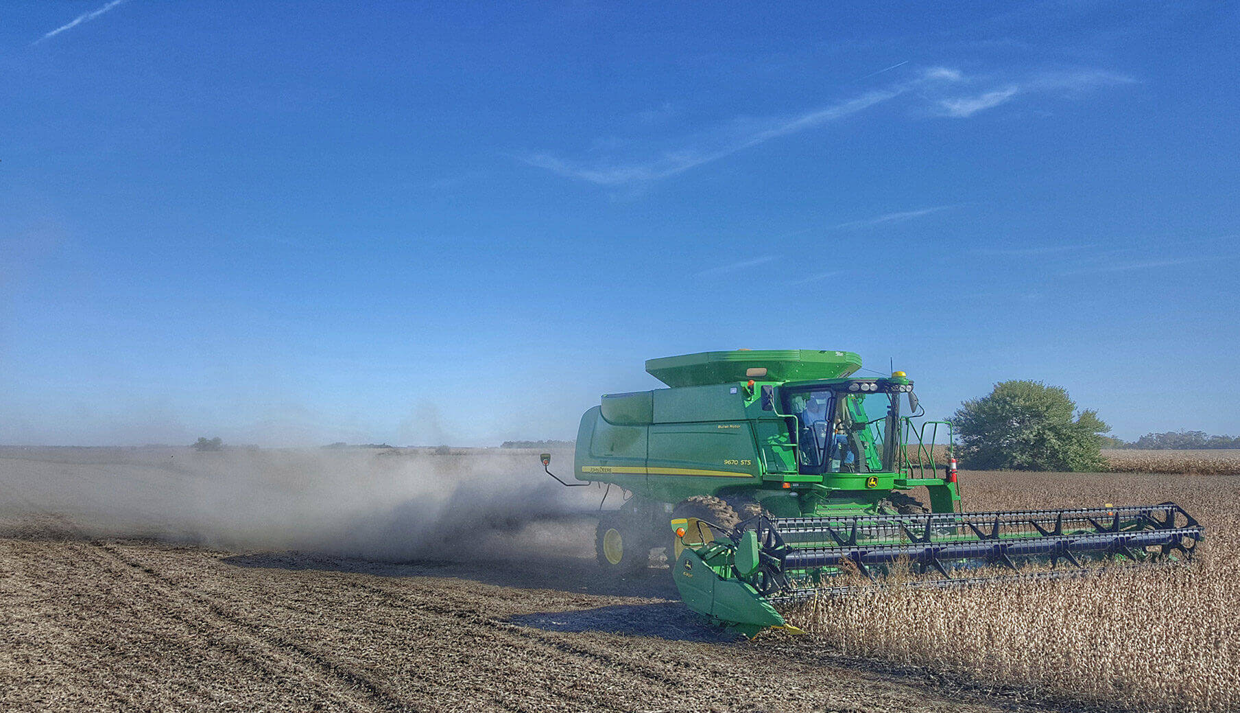 combine in soybeans