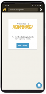 Screenshot of HeavyWorth mobile app