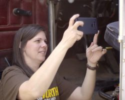 Taking picture of truck tractor VIN